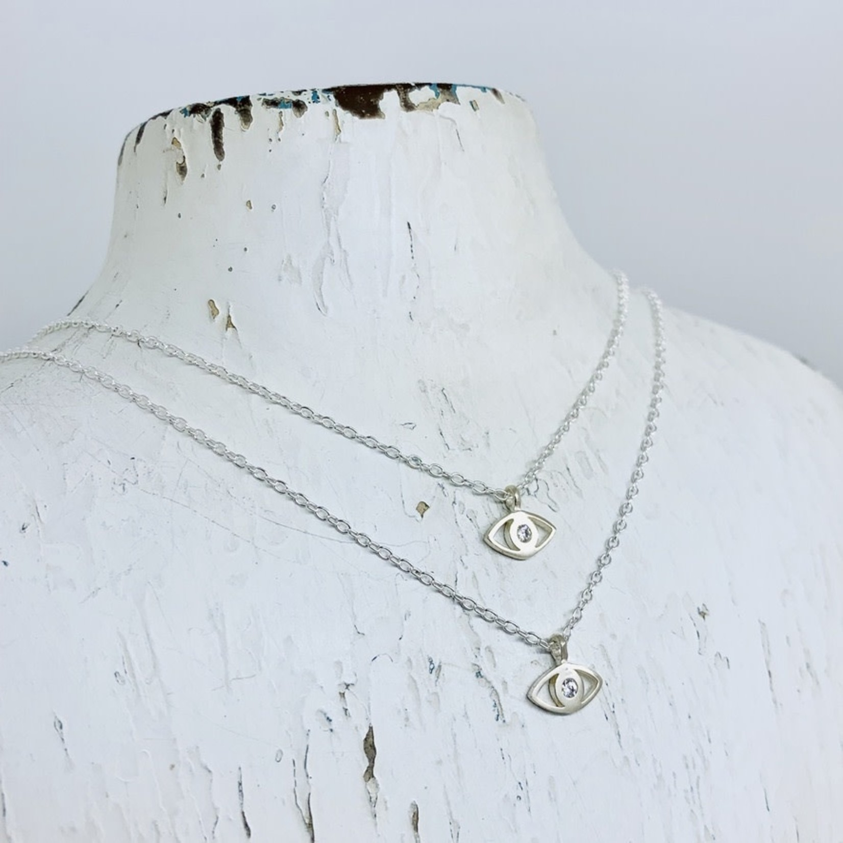 Locally Handmade Evil Eye w/ White Topaz Necklace, Sterling Silver