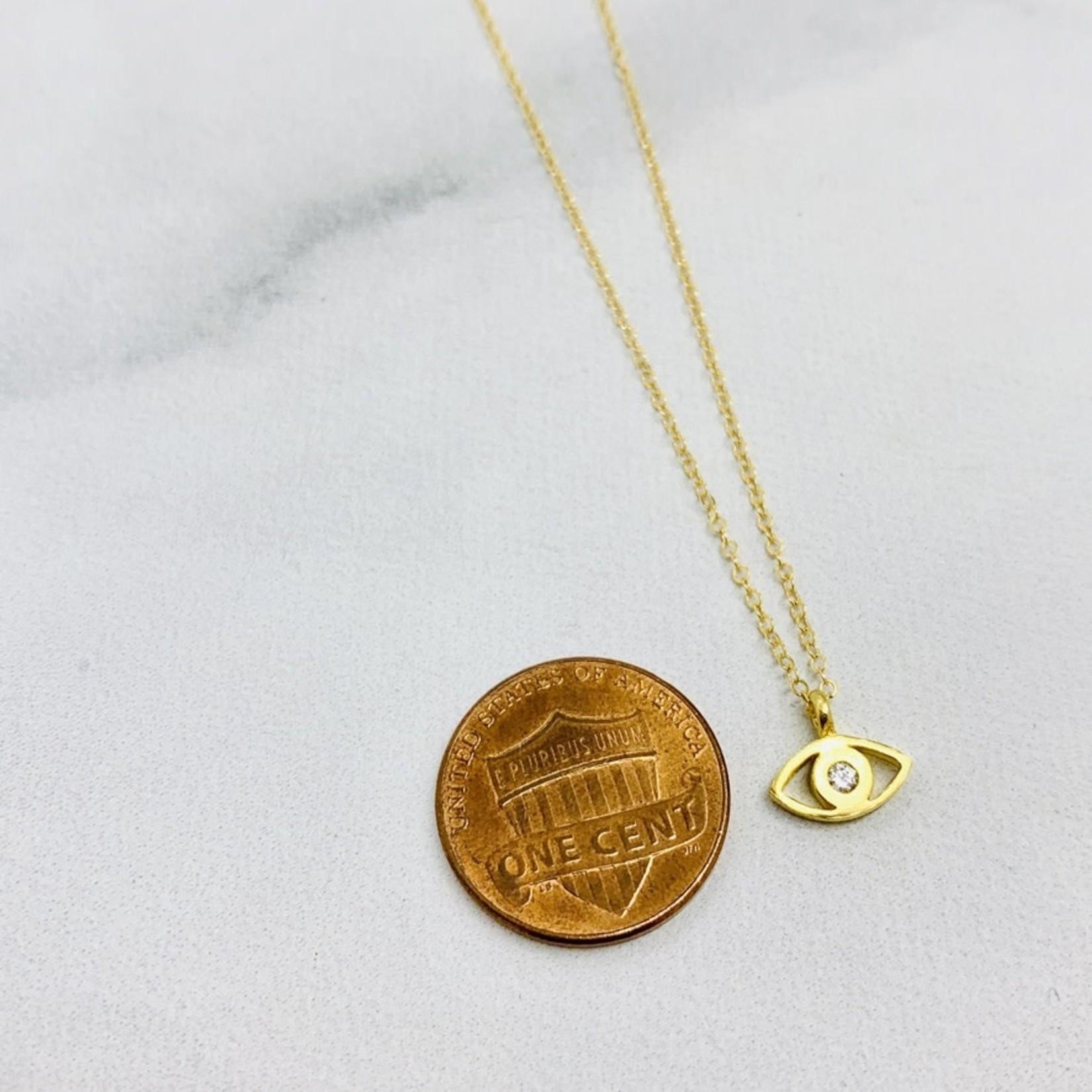 Locally Handmade Evil Eye w/ White Topaz Necklace, Gold Filled
