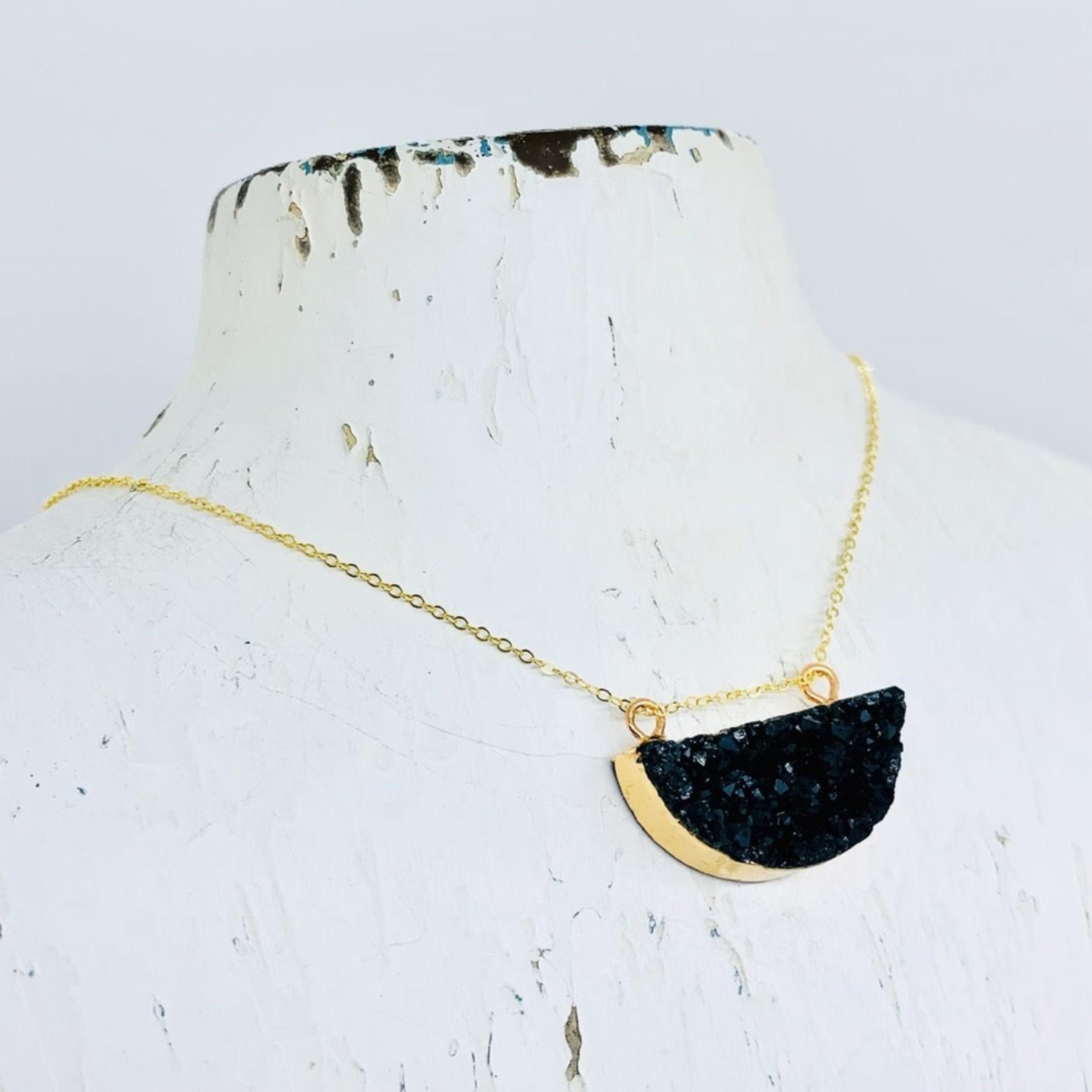 Handmade 14k Goldfill Necklace with Black Half Moon Druzy