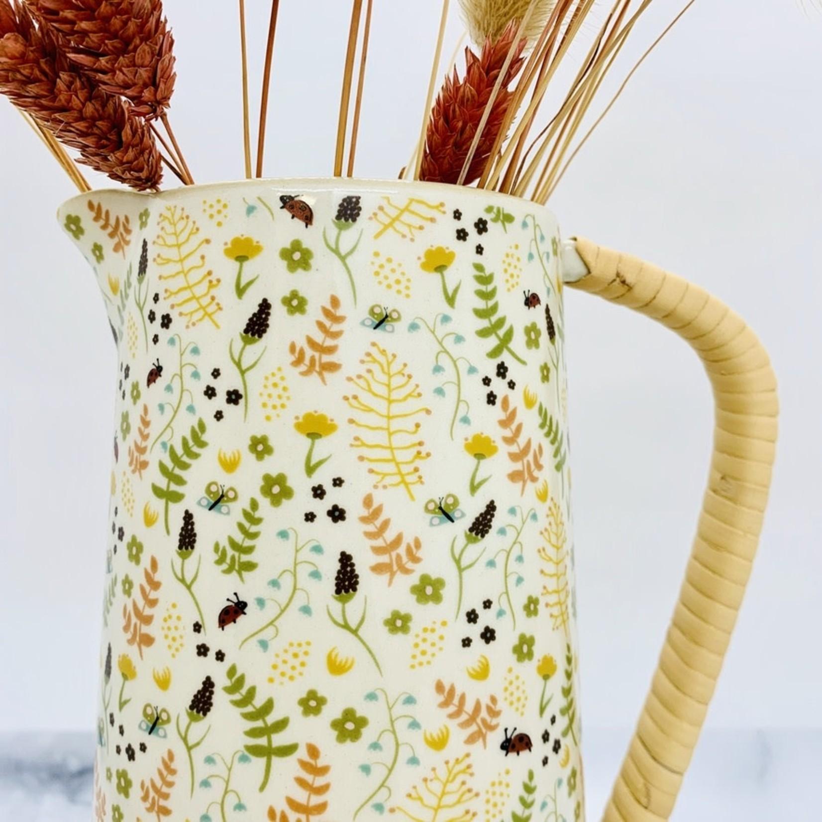 24 oz. Stoneware Pitcher w/ Rattan Wrapped Handle & Floral Pattern