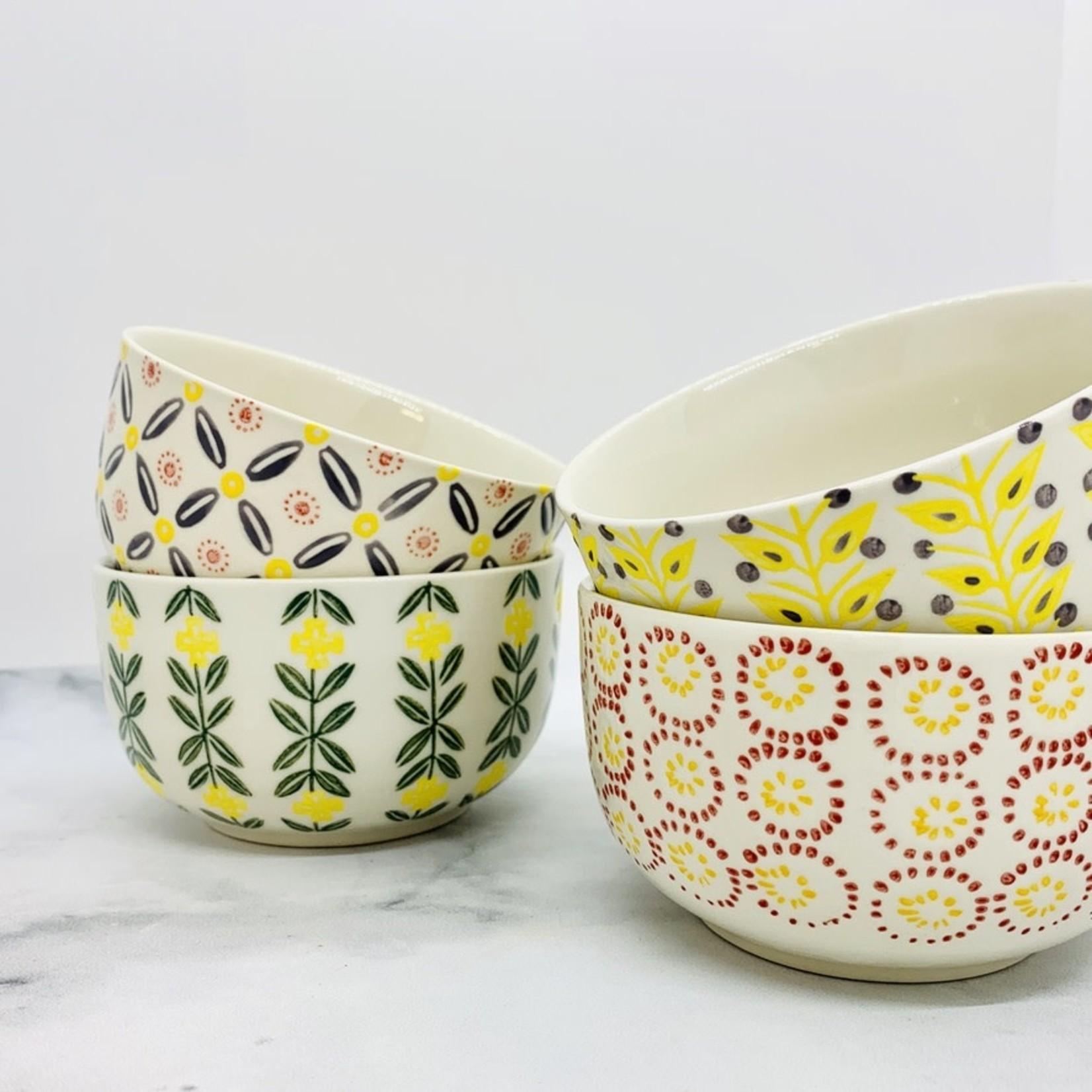 "4.75"" x 2.5"" Hand-Stamped Stoneware Bowl"