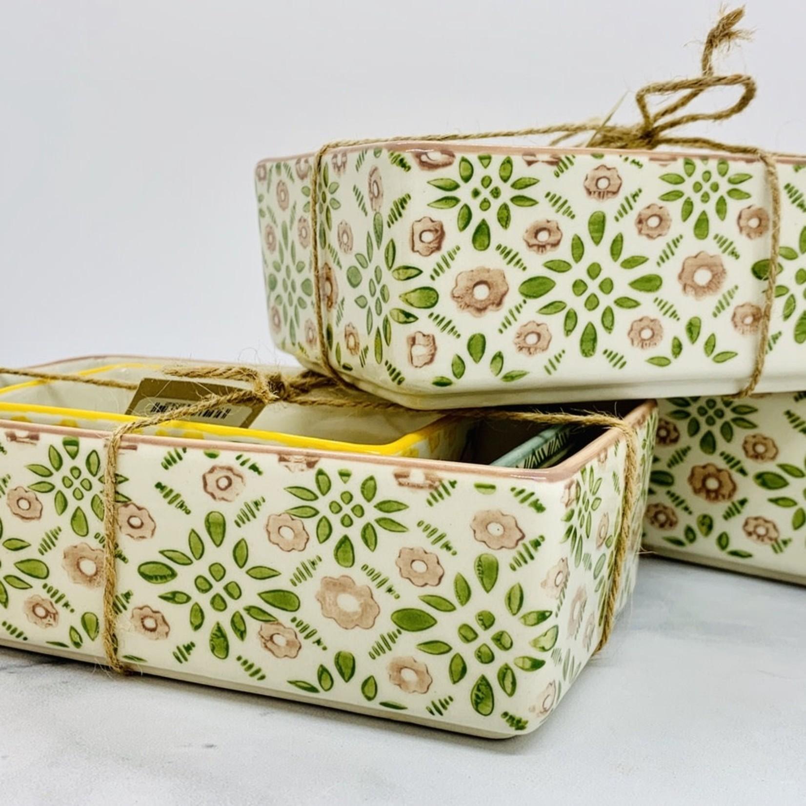 Hand Stamped Stoneware Ramekins w/ Patterns