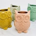 "3.25"" x 2.75"" Stoneware Owl Vase w/ Magnet"