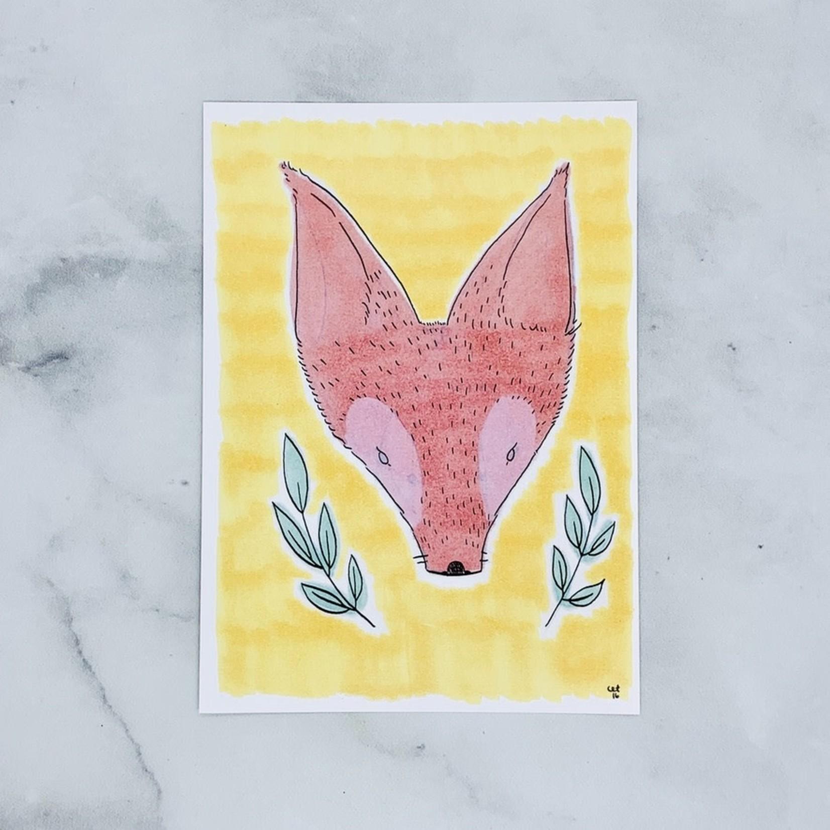 "Cat Rocketship Wonderful Fox Print 5""x7"""