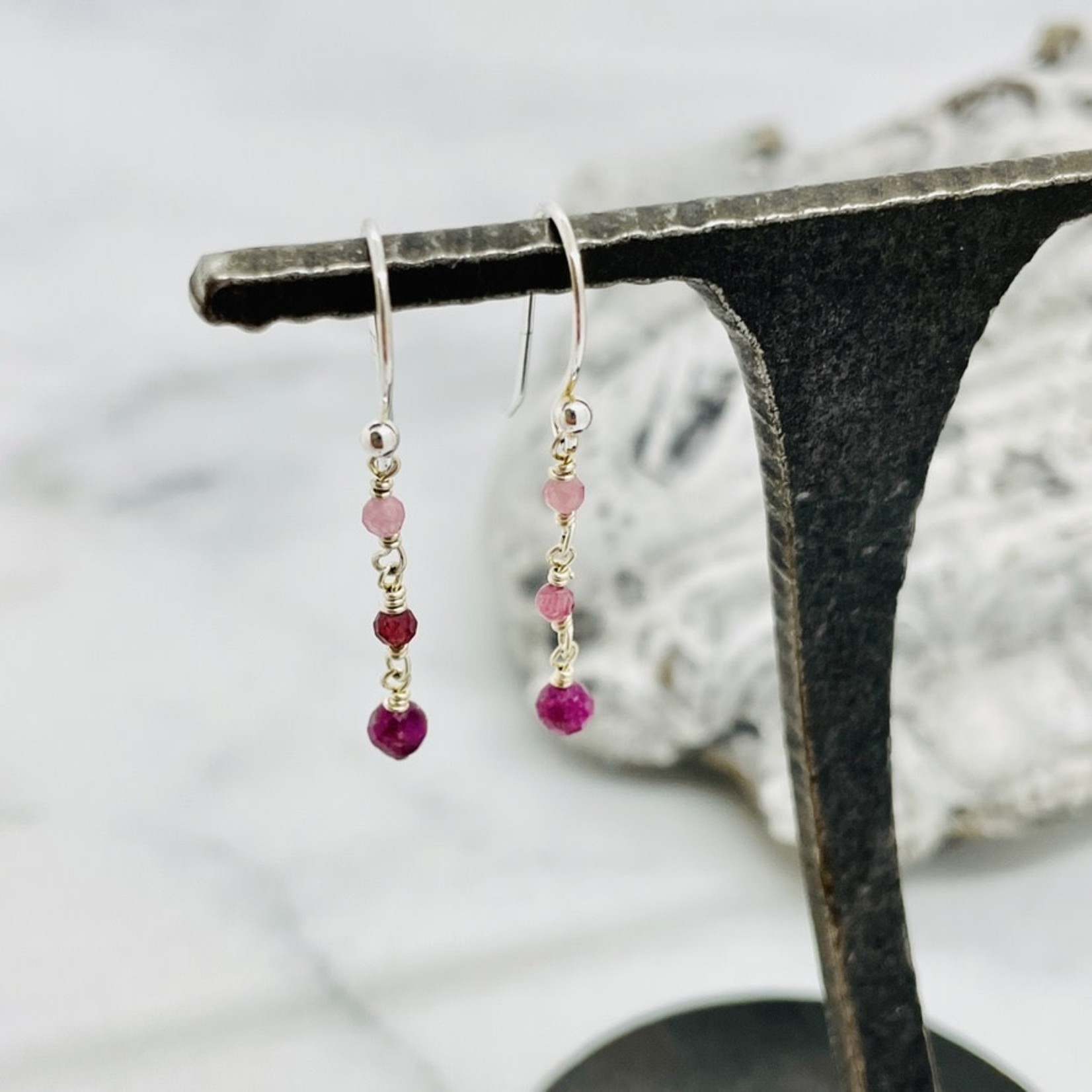 EVANKNOX Handmade Earrings with connected ruby, pink tourmaline