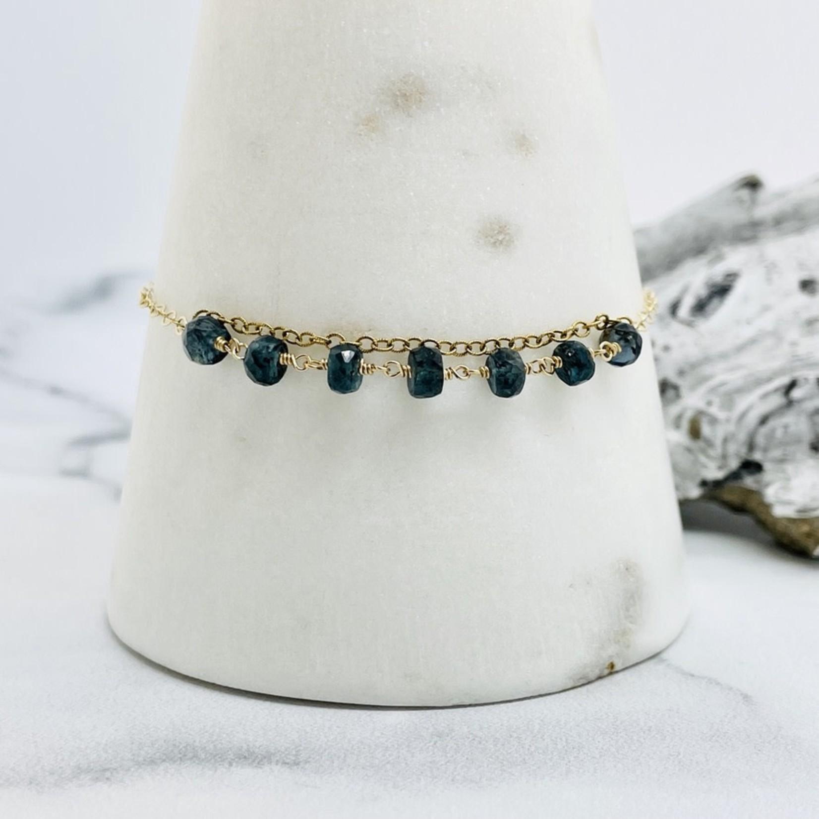 EVANKNOX Handmade Bracelet with 14 k g.f. 1/2 connected moss kyanite rondelles