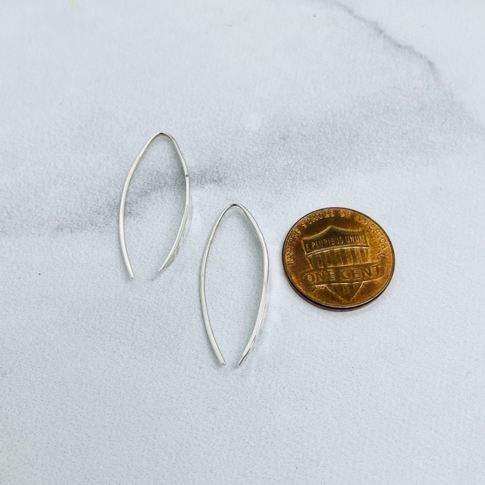 SS Hammered Arc Earrings, 30x5mm