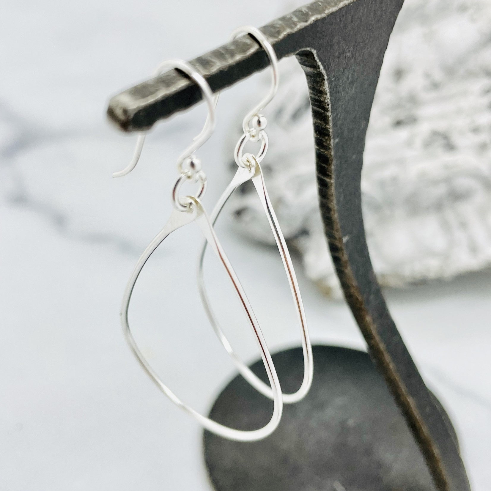 Sterling Silver Teardrop Hook Hoops - 40mm