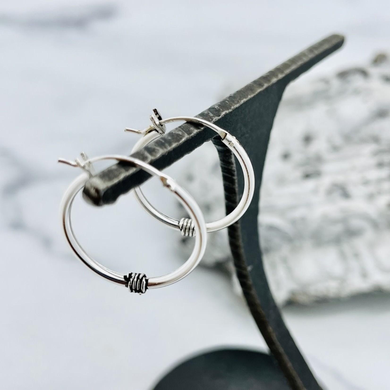Sterling Silver Wire Wrap Hoop 20mm