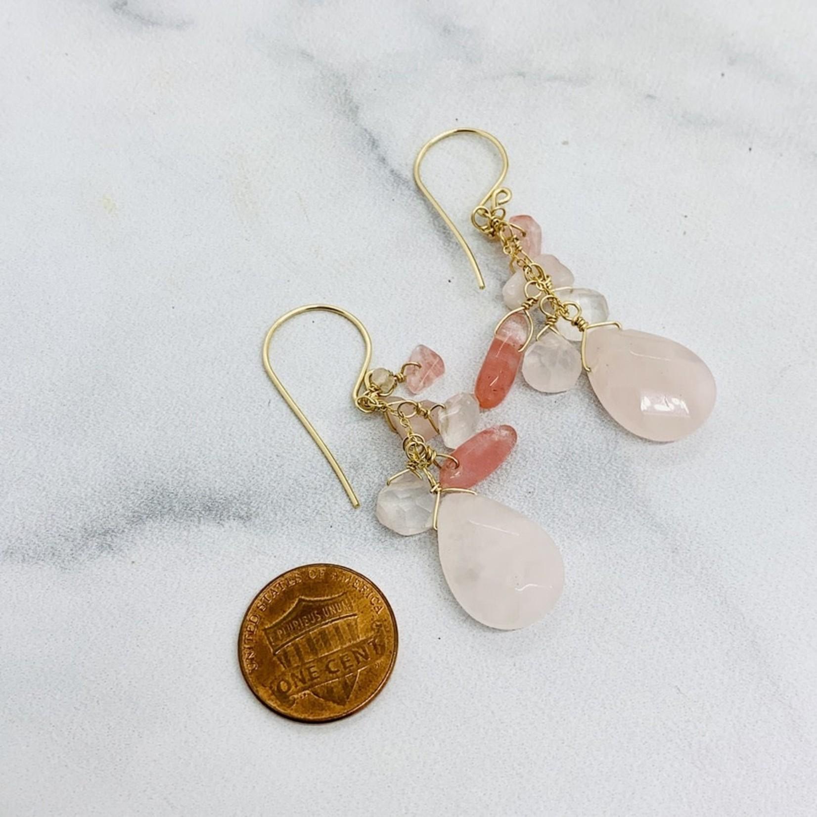 Handmade 14k Goldfill Earrings with Rose Quartz Cascade