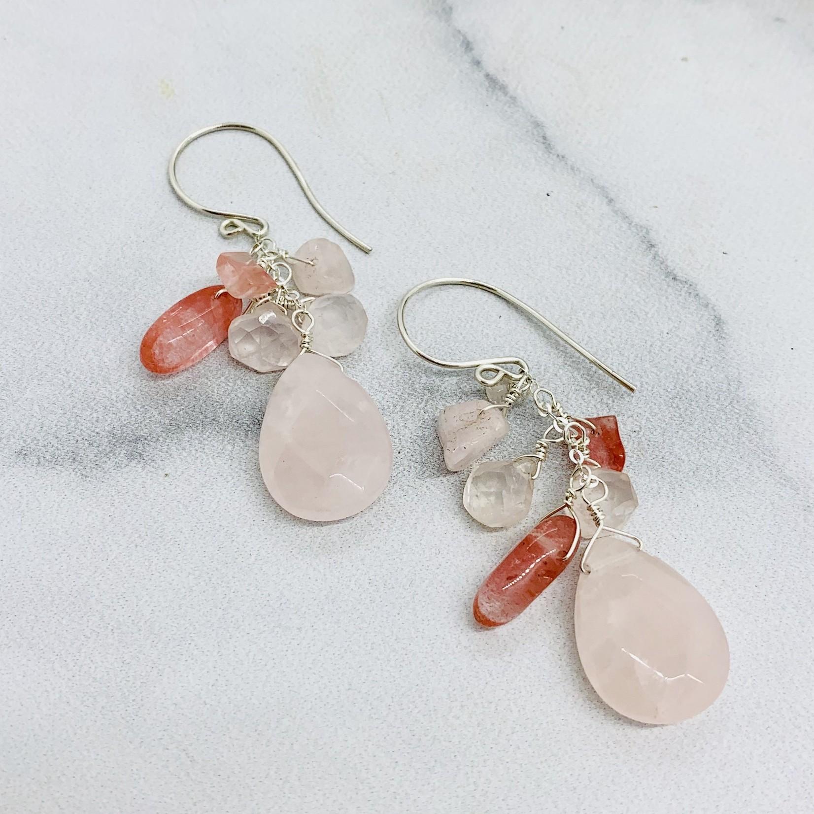 Handmade SS Earrings with Rose Quartz Cascade