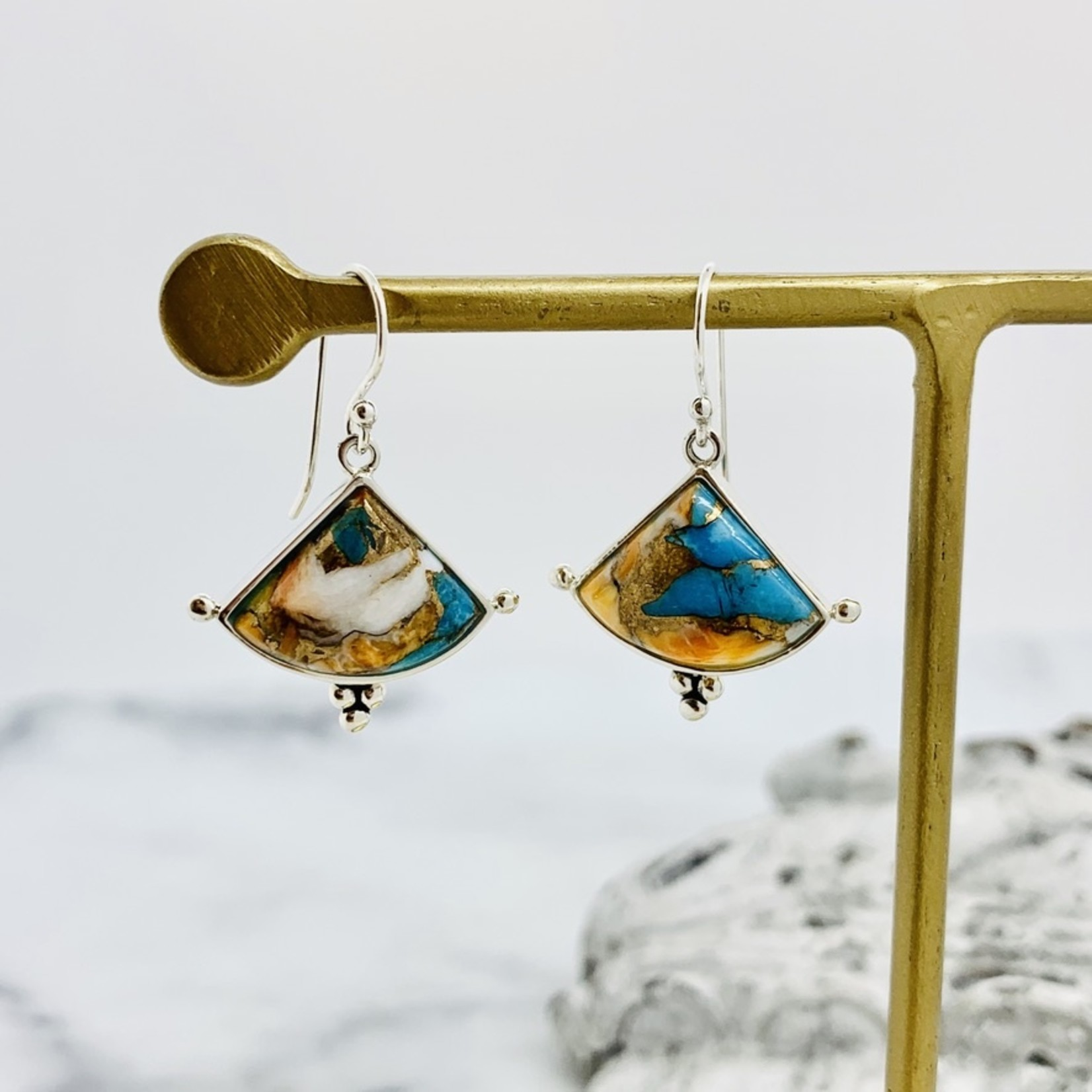 Spiny Oyster and Turquoise Triangular French Wire Earrings