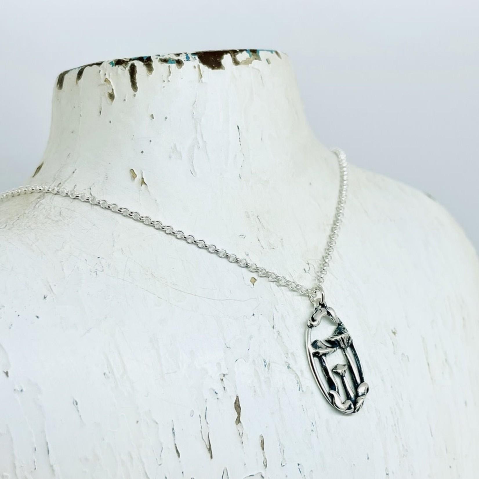 Silver Bramble Jewelry Handmade Mushroom Portrait Necklace in Silver