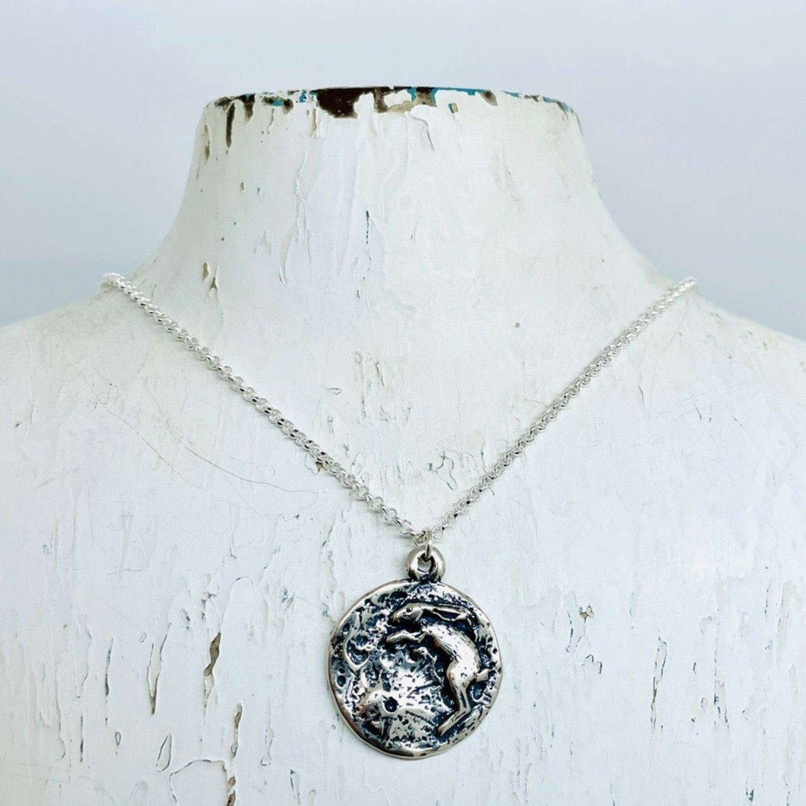 Silver Bramble Jewelry Handmade Rabbit in Moon Necklace in Silver