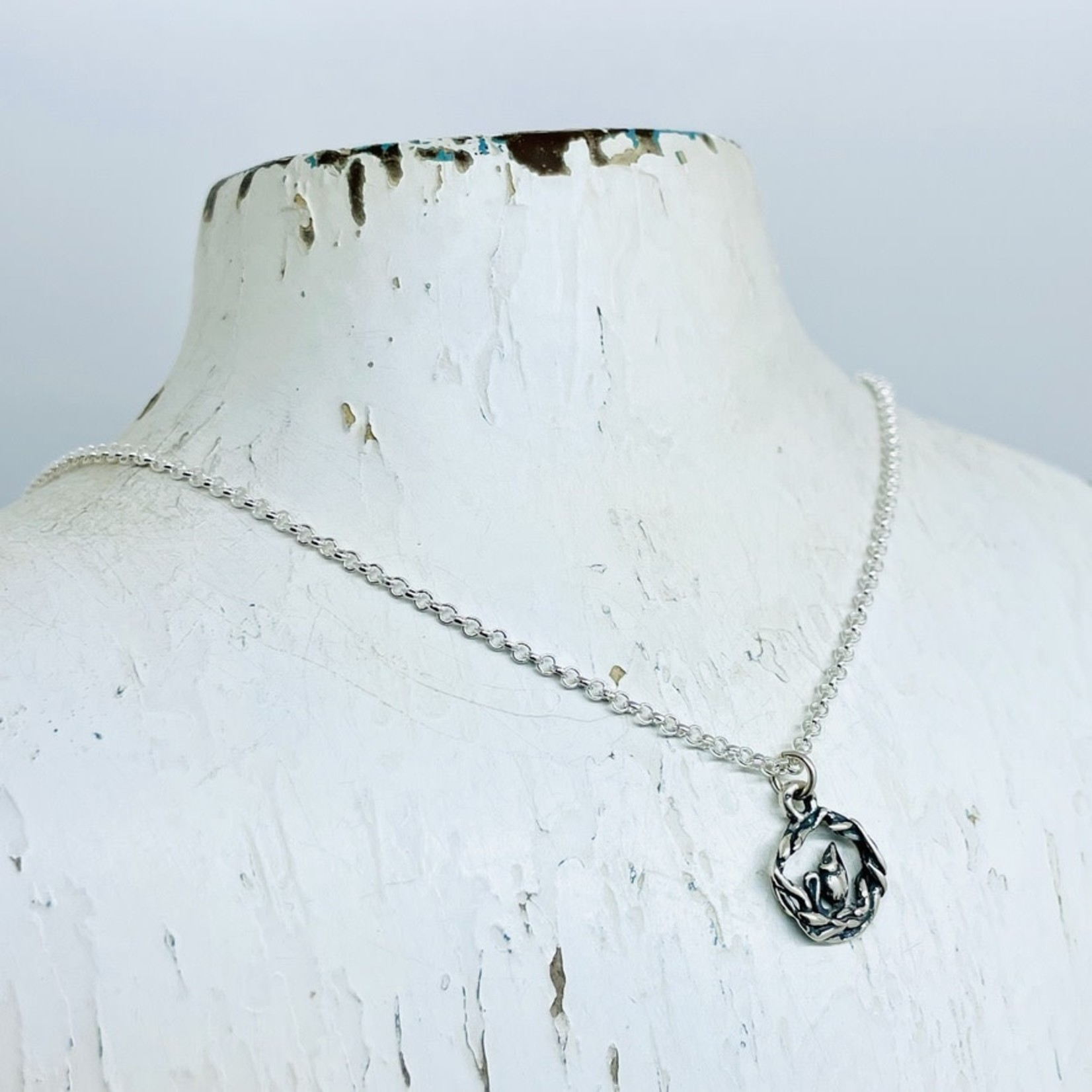 Silver Bramble Jewelry Handmade Mouse Necklace in Silver