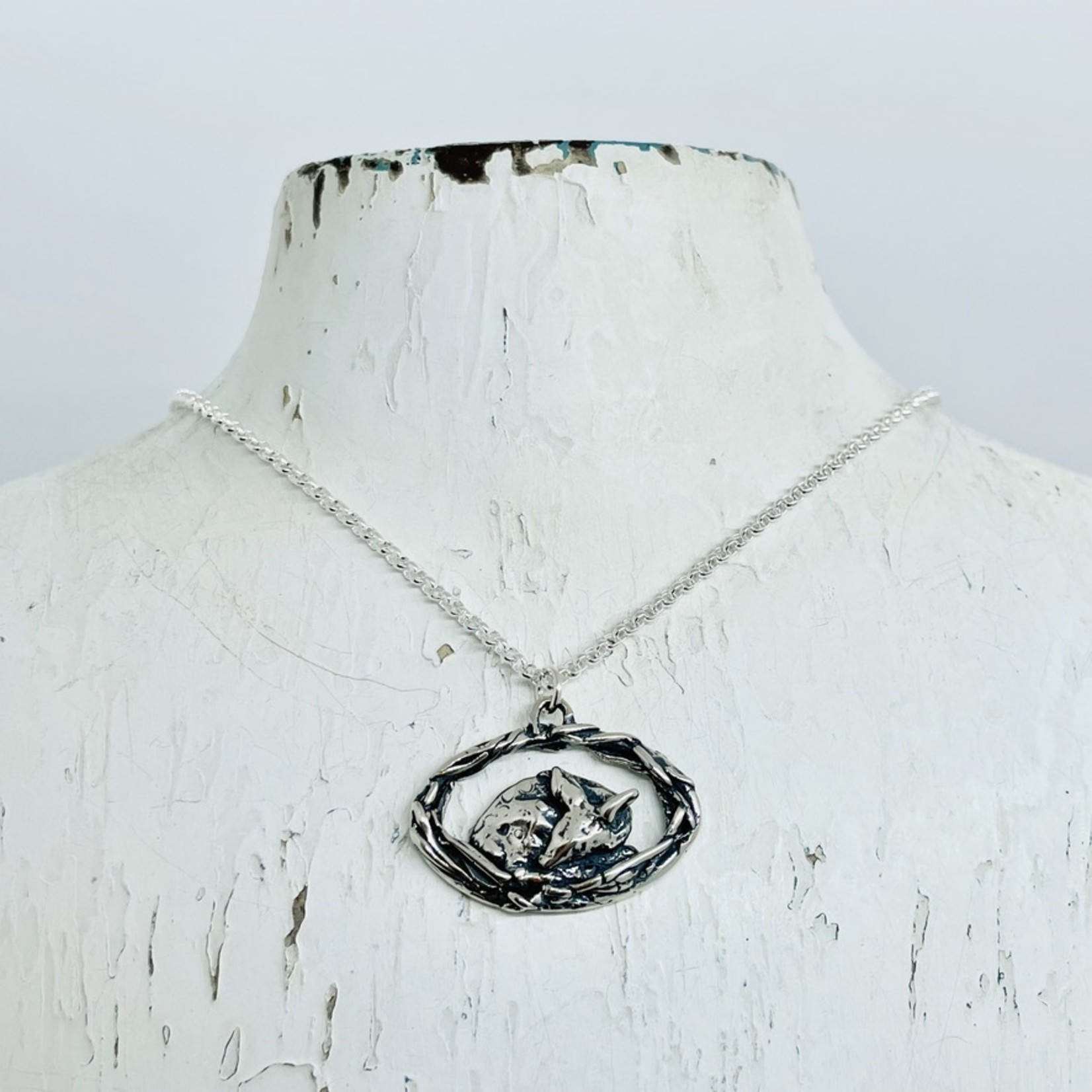 Silver Bramble Jewelry Handmade Fawn Burrow Necklace in Silver