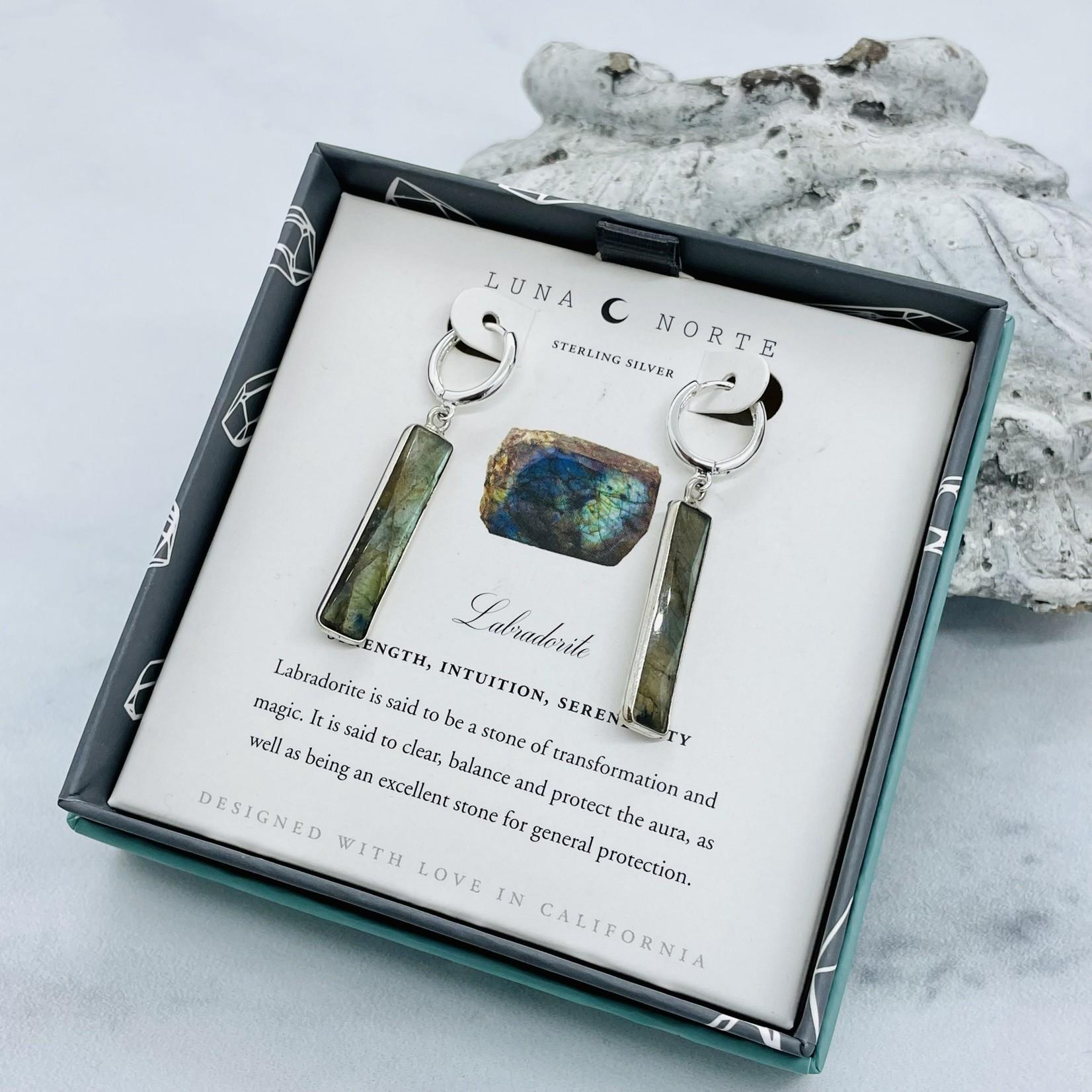 Luna Norte Linear Labradorite Huggie Hoop Earrings