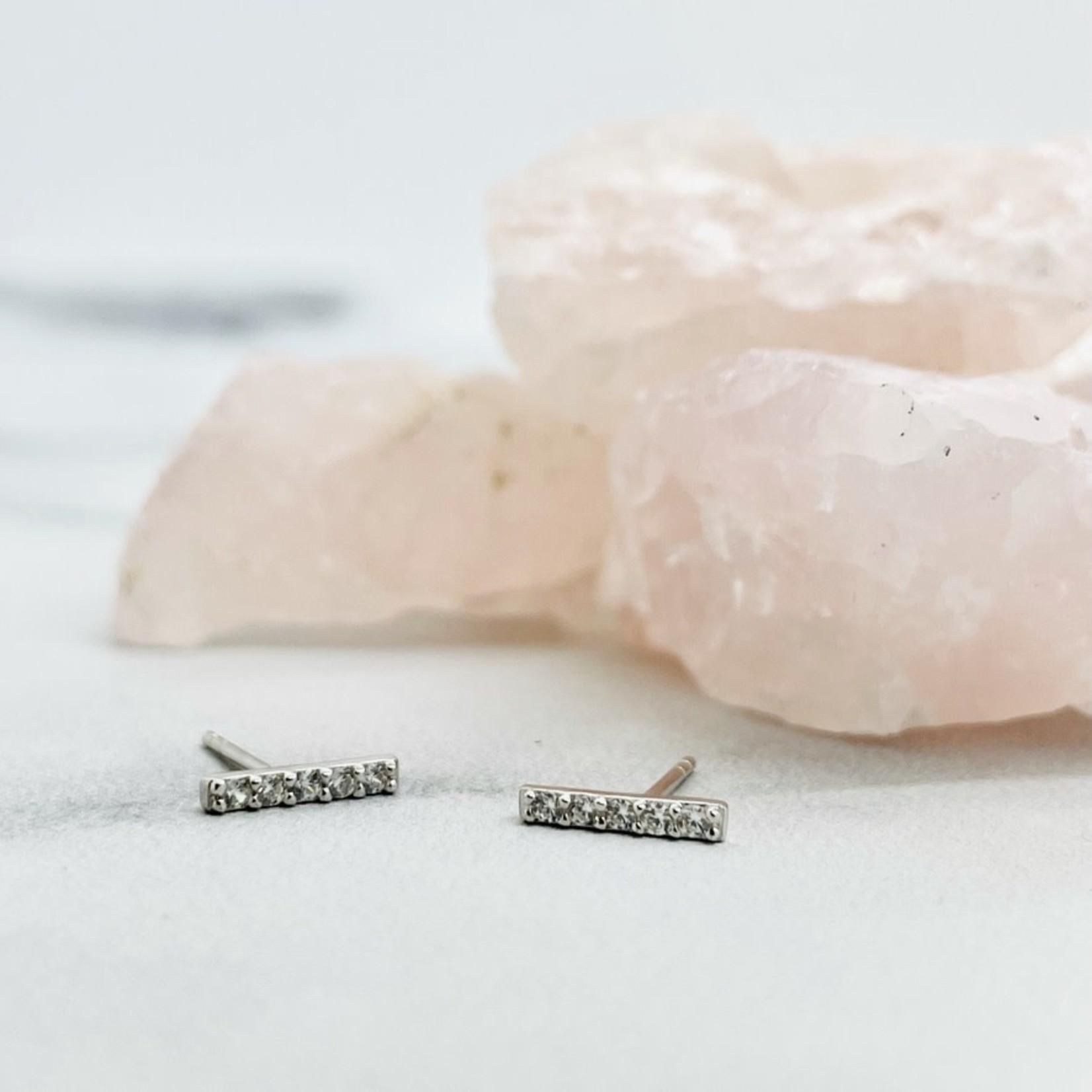 Silver and CZ Mini Bar Stud Earrings