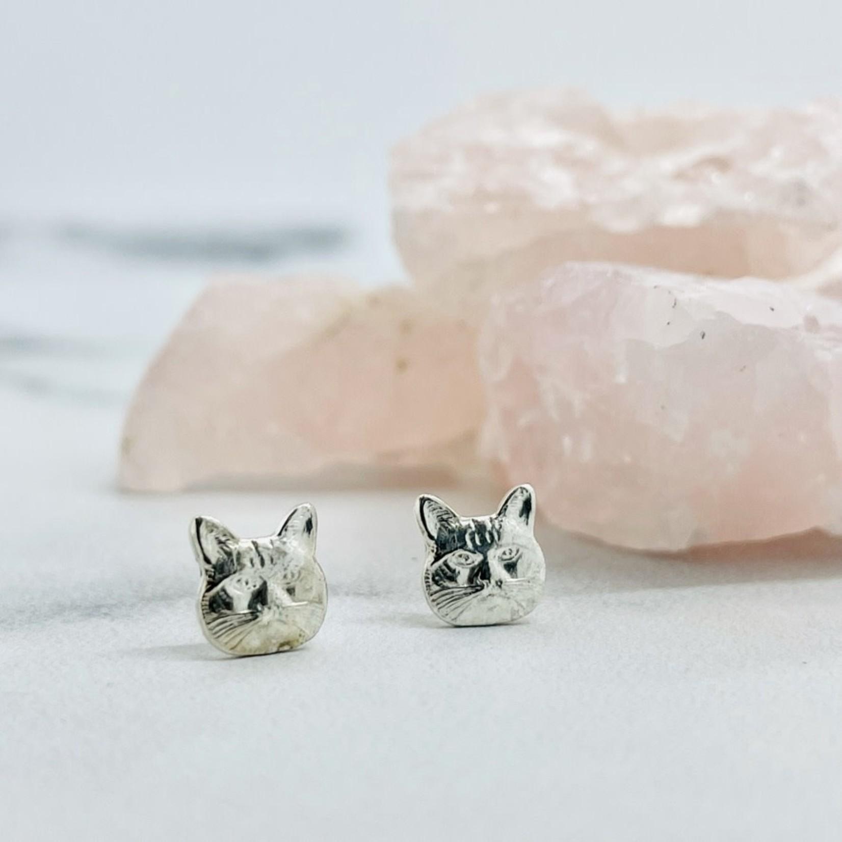 A Wild Violet Grumpy Cat Stud Earrings, Sterling Silver