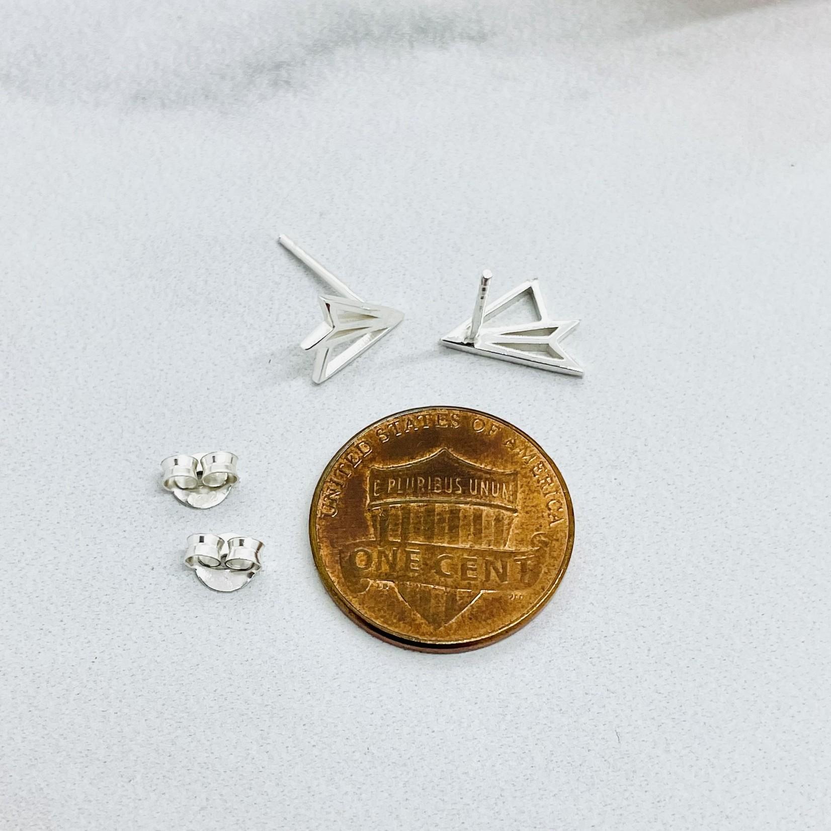 Paper Plane Outline Stud Earrings, Silver