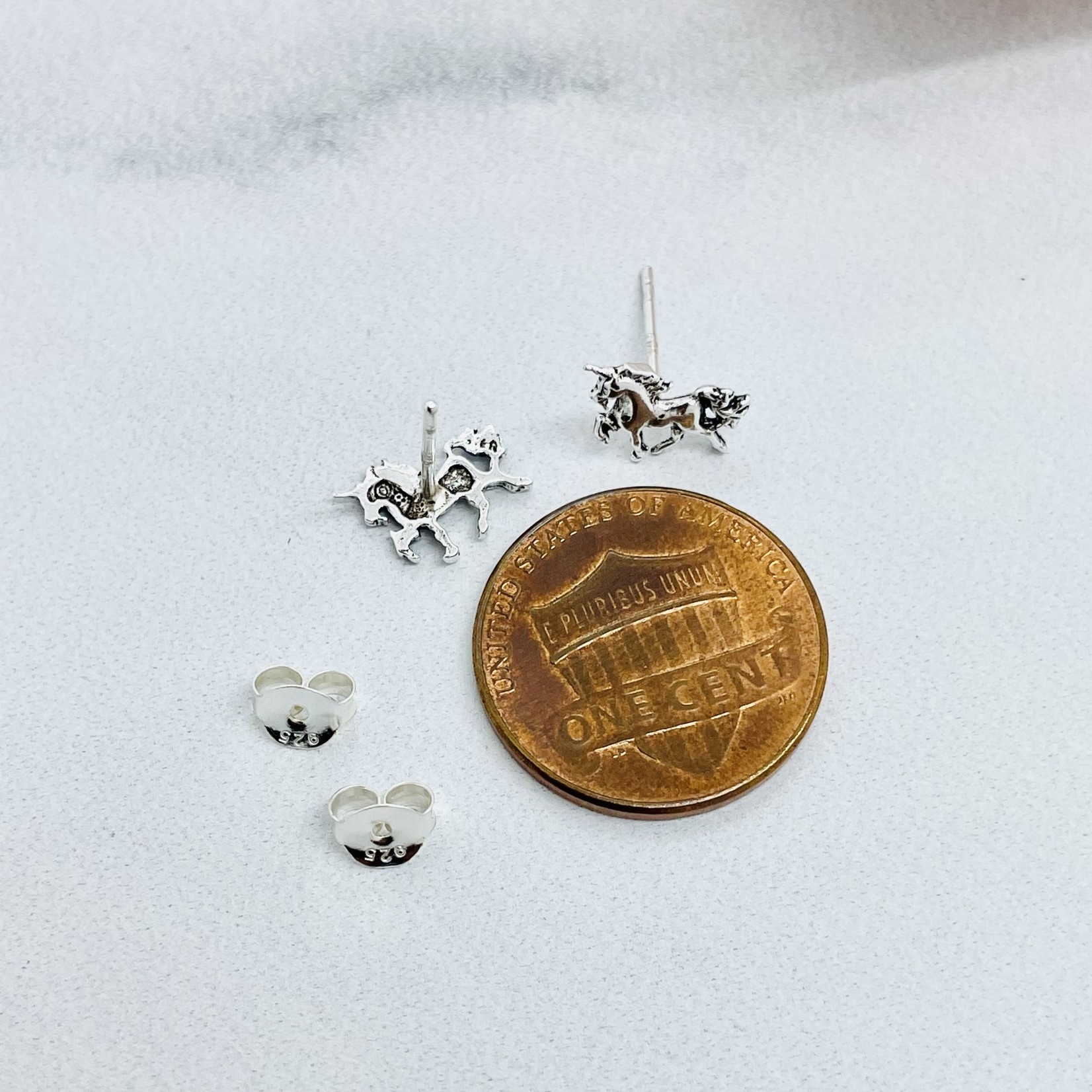 Prancing Unicorn Stud Earrings, Silver