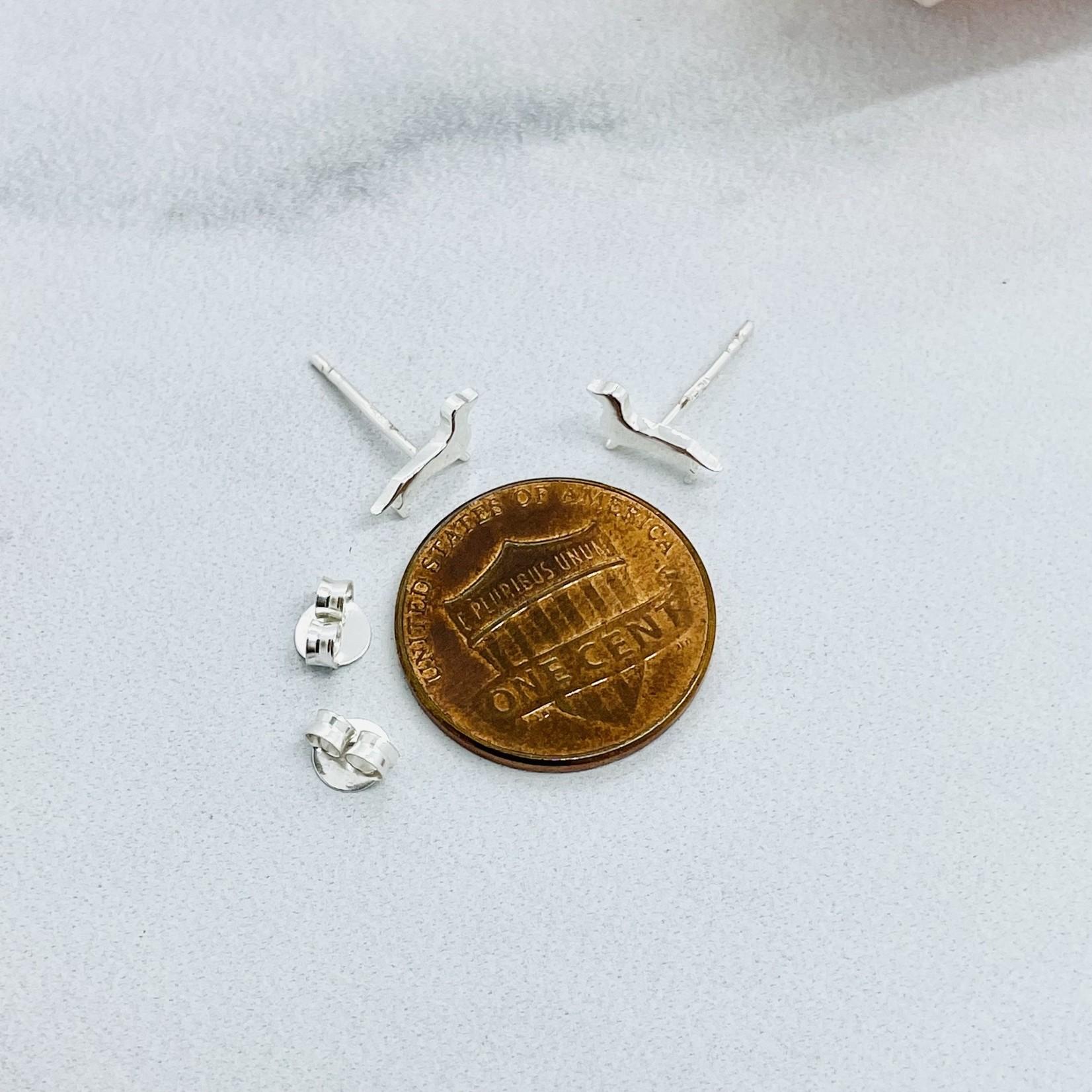 Dachsund Stud Earrings, Silver
