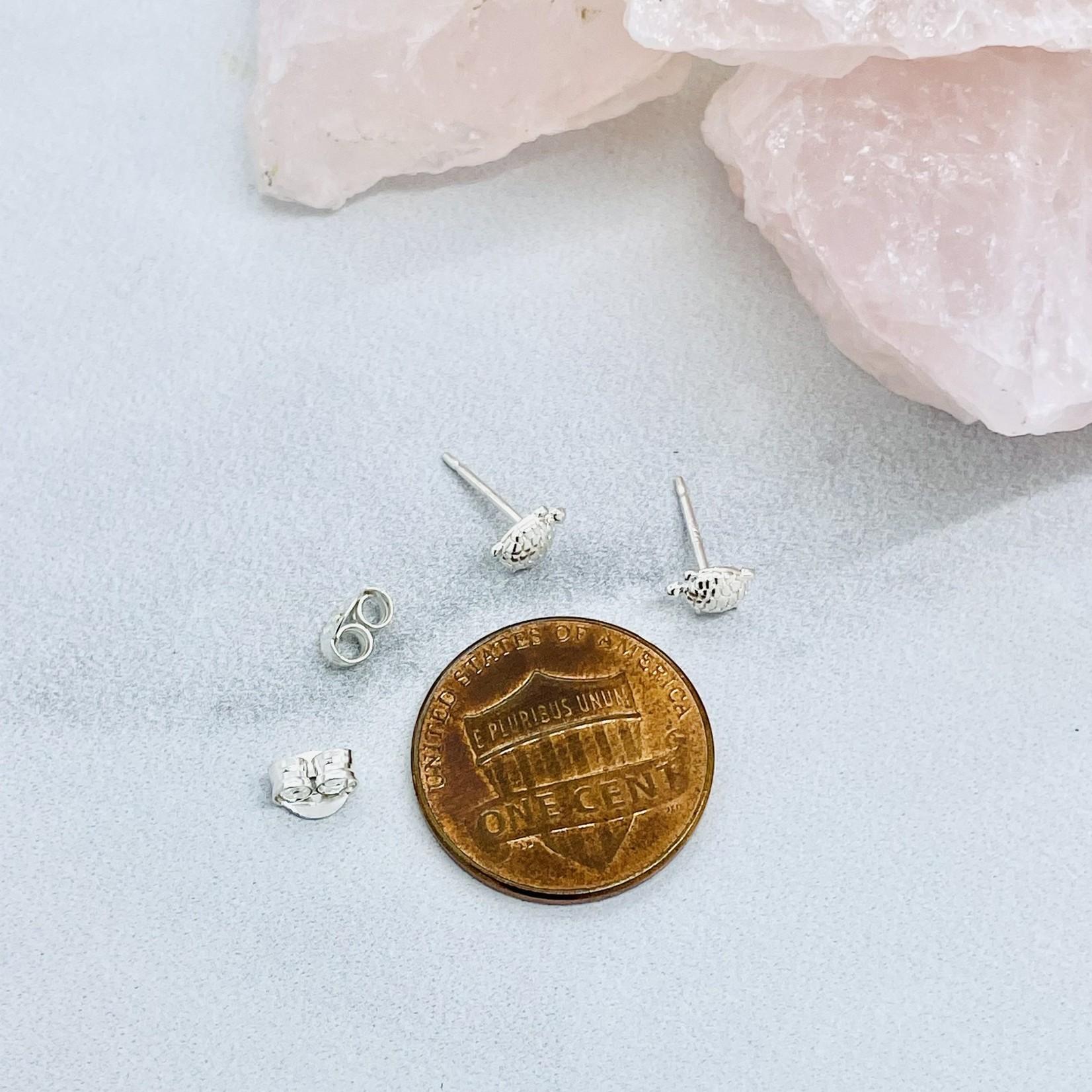 Tiny Turtle Stud Earrings, Sterling Silver