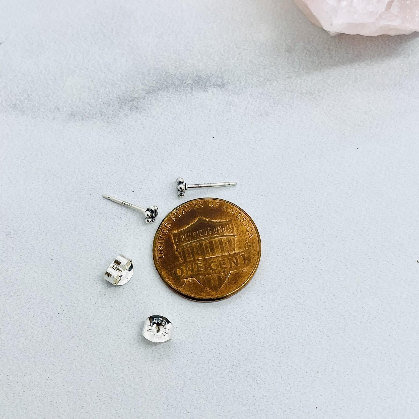 SS Granulated Flower Stud Earrings
