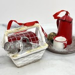 "Resin Picnic Basket Ornament 4""L"