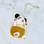 """Wool Felt Lucky Cat Ornament 3"""" H"""