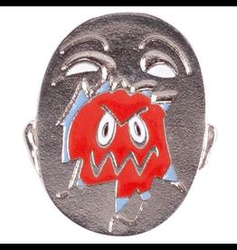 Hockey Broken Face Antique Silver Pin