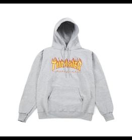 Thrasher Flame Logo Hoodie - Grey Athletic