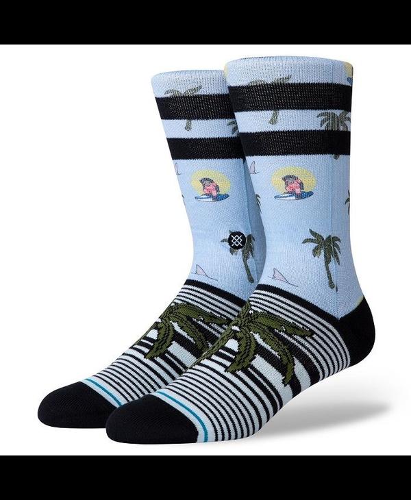 Aloha Monkey Socks - Light Blue