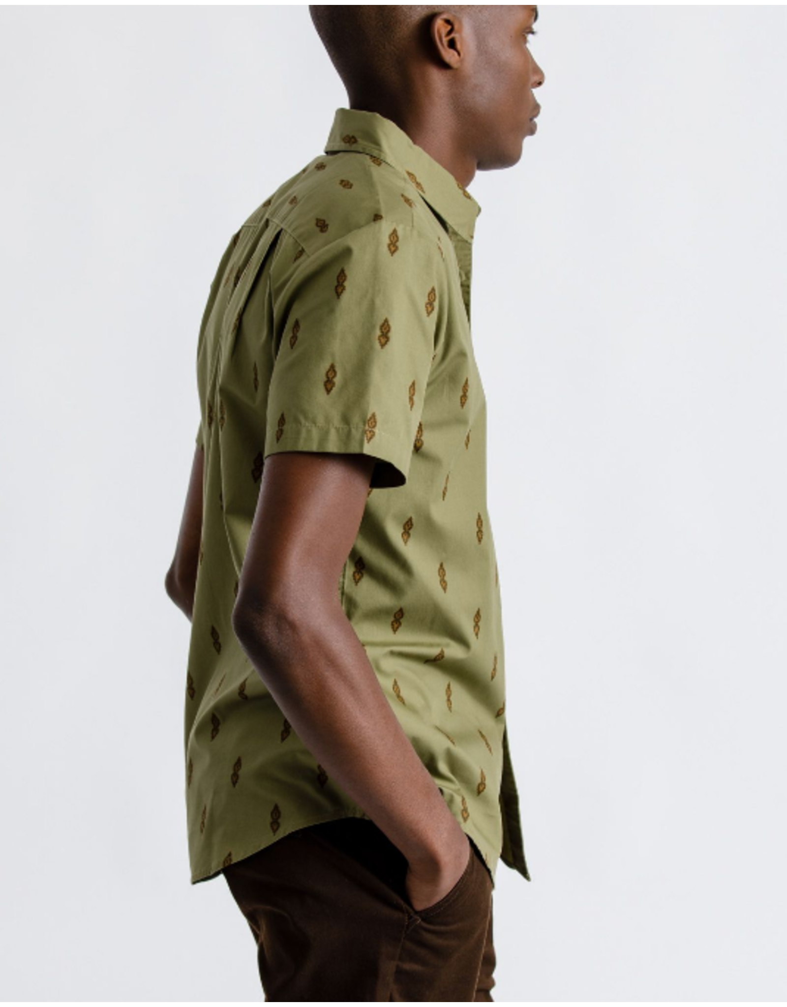 Brixton Charter Print Woven - Washed Olive