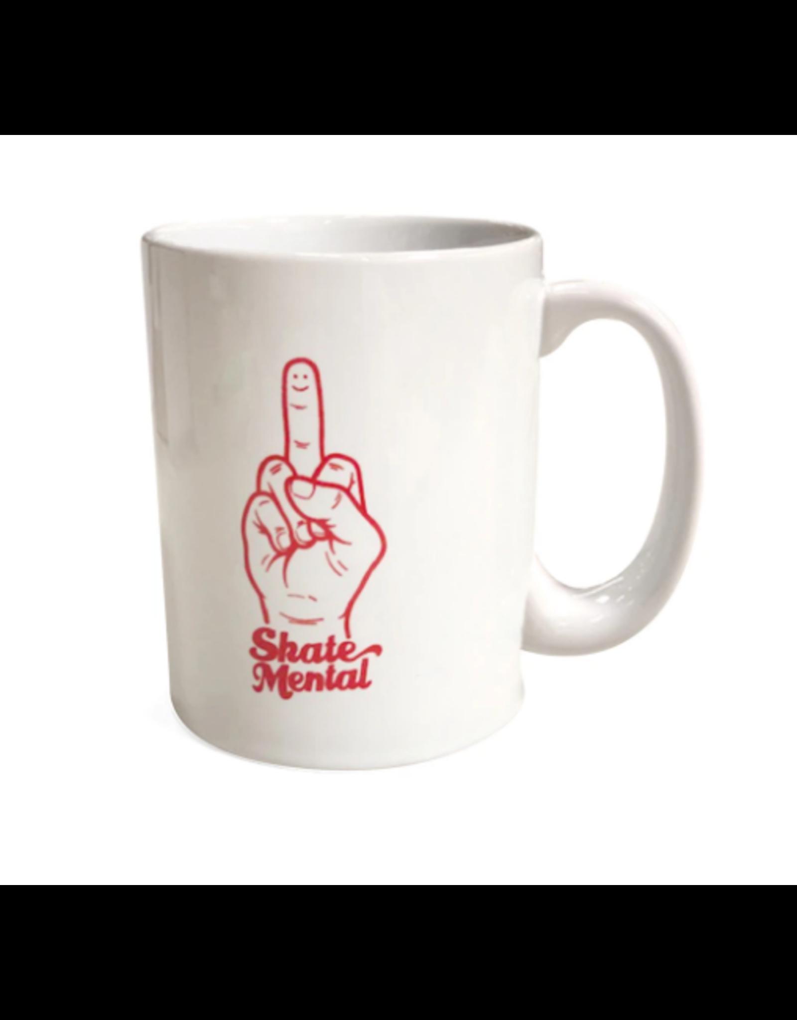 Skate Mental Smiley Finger Coffee Mug - White