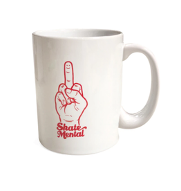 Skate Mental Smiley Finger Coffee Mug - White