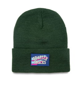 QuarterSnacks Rubber Label Beanie - Forest Green