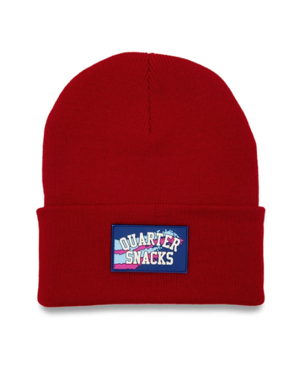 Rubber Label Beanie - Red