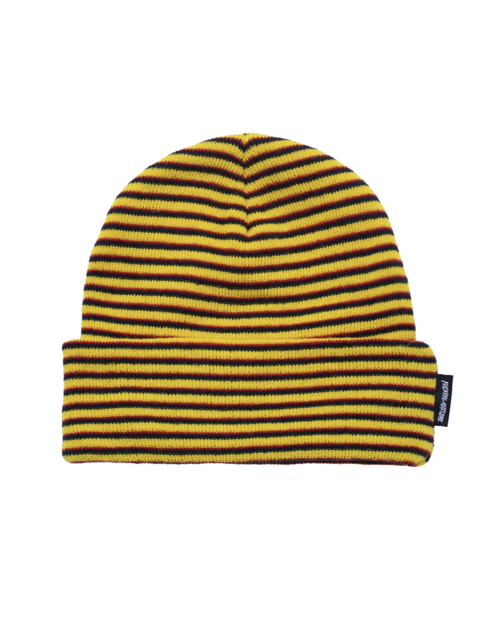 Fucking Awesome Striped Cuff Beanie - Navy/Orange