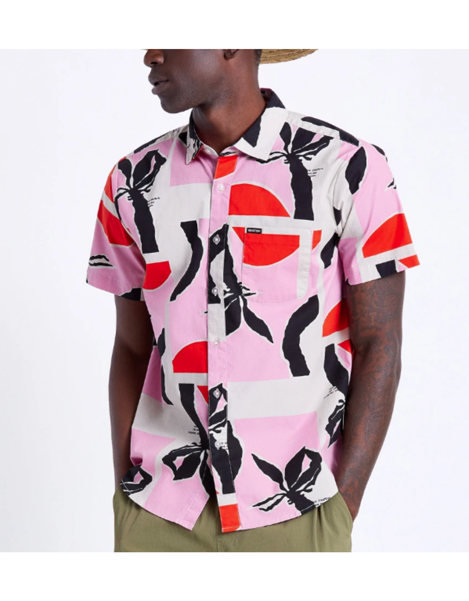 Brixton Charter Print S/S Woven - Pink/Red