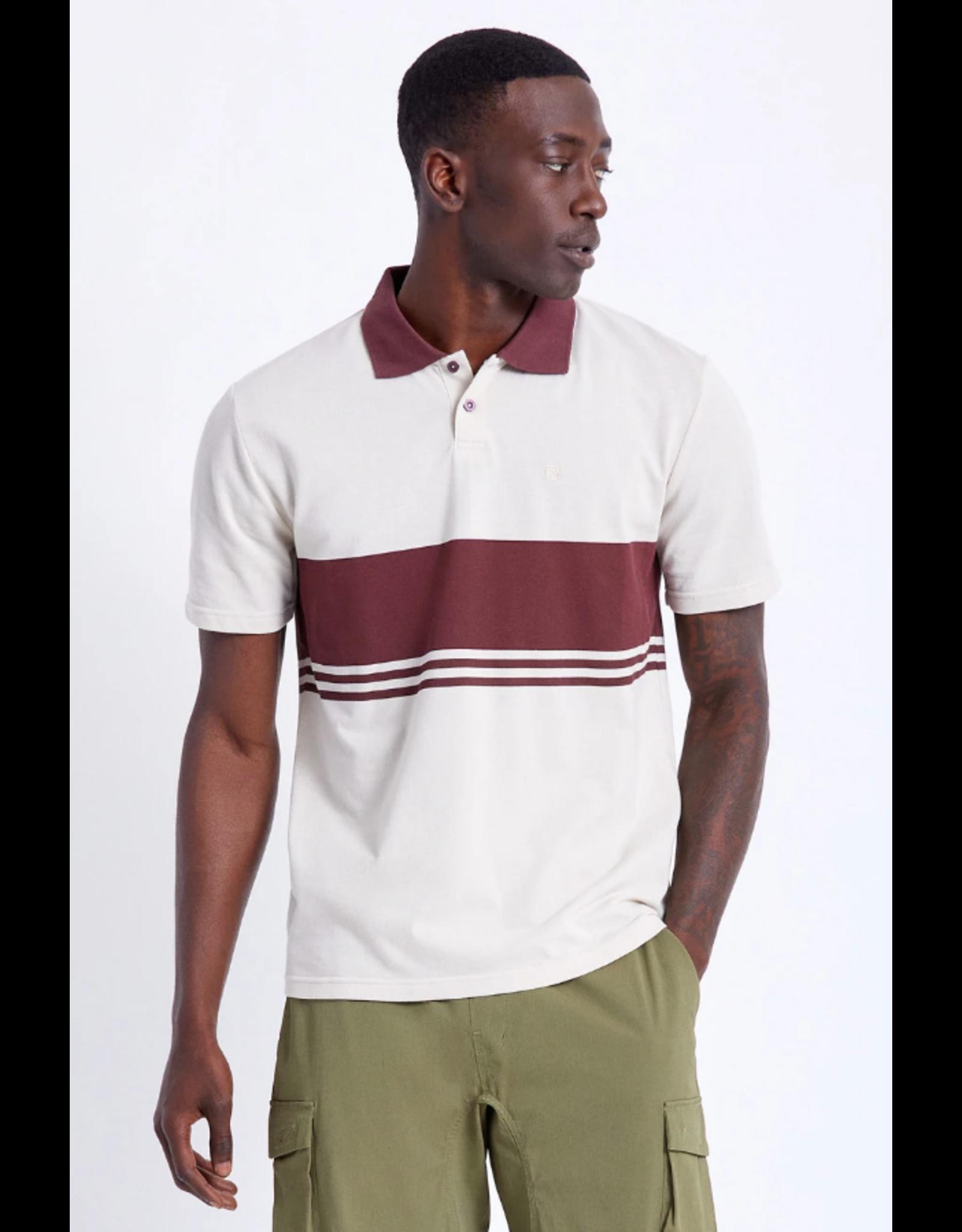 Brixton Shield Stripe S/S Polo Crossover Knit - Beige/Wine