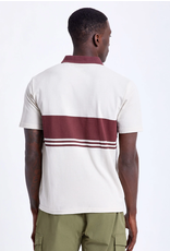 Brixton Shield Stripe S/S Polo Crossover Knit - Beige/Wine