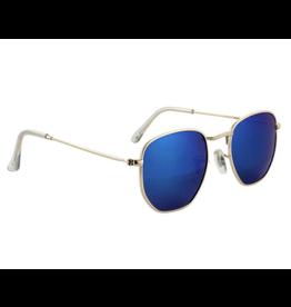 Glassy Turner Polarized Shades - Gold/Blue Mirror