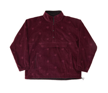 Allover Embroidered Anorak - Maroon