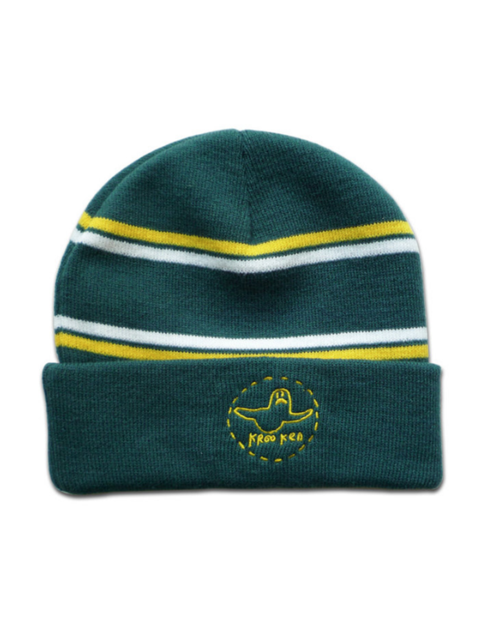 Krooked Trinity Cuff Beanie - Green/Yellow