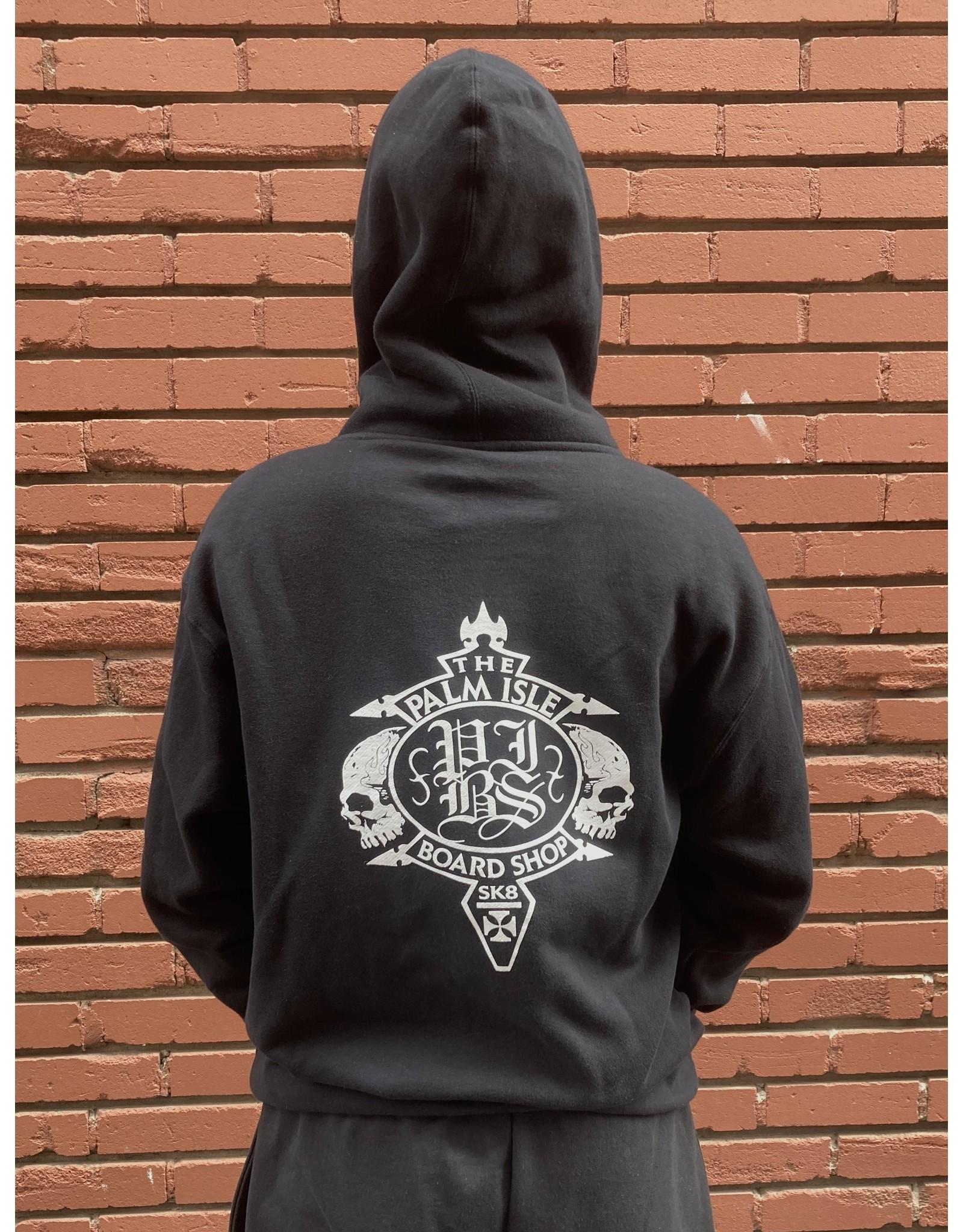 Palm Isle Crest Zip-Hood - Black