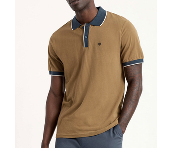 Proper S/S Jersey Polo Knit - Olive/Washed Navy