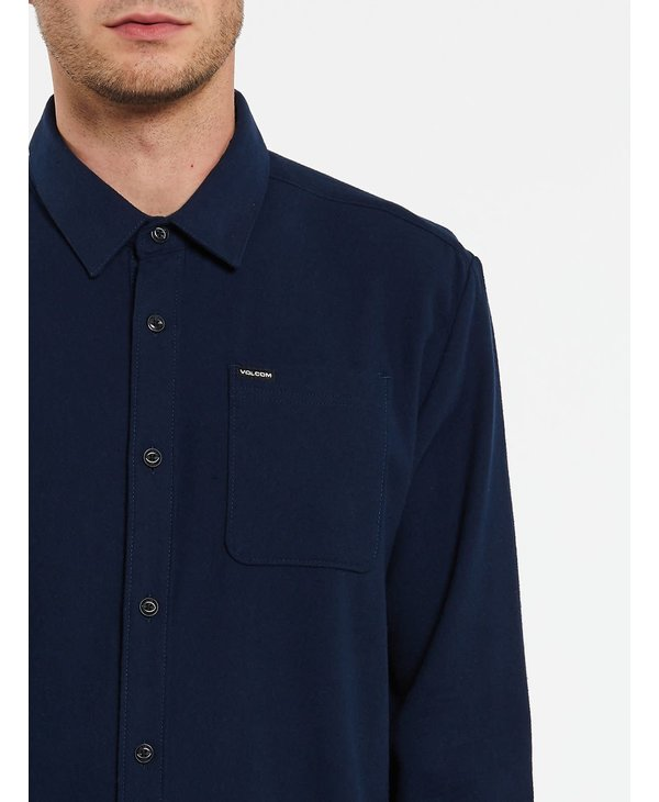 Caden Solid Long Sleeve Shirt - Navy