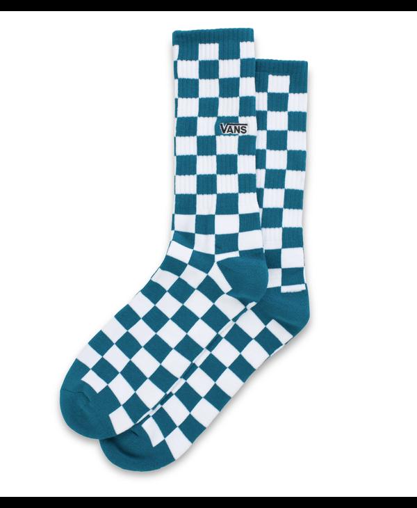 Checkerboard Crew Socks - Blue Coral