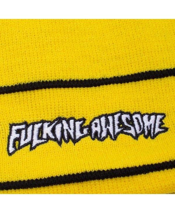 Little Stamp Striped Cuff Beanie - Yellow/Black